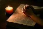 Prayer, candle, bible