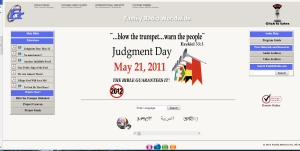 """Family Radio Website proclaiming that Bible """"guarantees"""" that the world will end on 21st May 2011"""