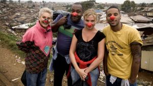 Lenny Henry, Samantha Womack, Reggie Yates and Angela Rippon in kibera slum