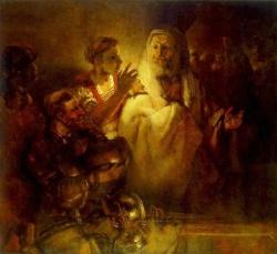 Rembrandt's Peter denying Christ