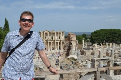Will standing with the library of Celsus behind, one of the great ancient libraries