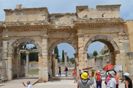 This was the gate between the Library of Celsus and the marketplace (the Agora) which you can see through the gate