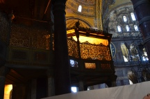 The sultan's place of prayer in the Hagai Sophia. Notice it is enclosed to ensure that the Sultan's bodyguards can stop anyone attacking himm