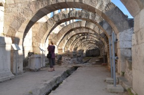 Looking down under the arches of the Agora